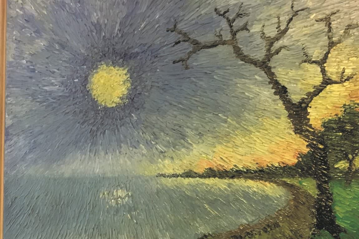 Landscape with bright sun and bare tree - oil painting by KUBES artist Berry den Brinker