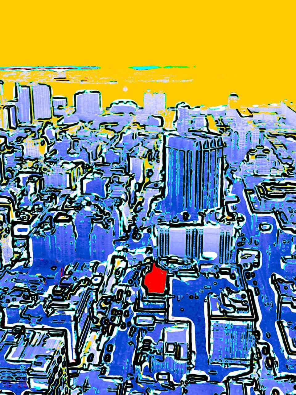 """Manhattan met rode stip, onderdeel van het tweeluik """"Berry nu""""70 x 90Foto"""