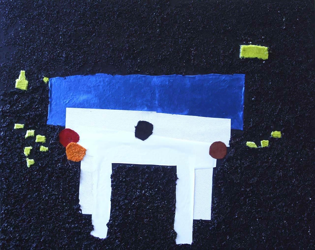 Het tafelgesprek80 x 100Schilderen met materialen op het schilderdoek volgensde Taktilamethode ontworpen door kunstenares Jofke van Loon.