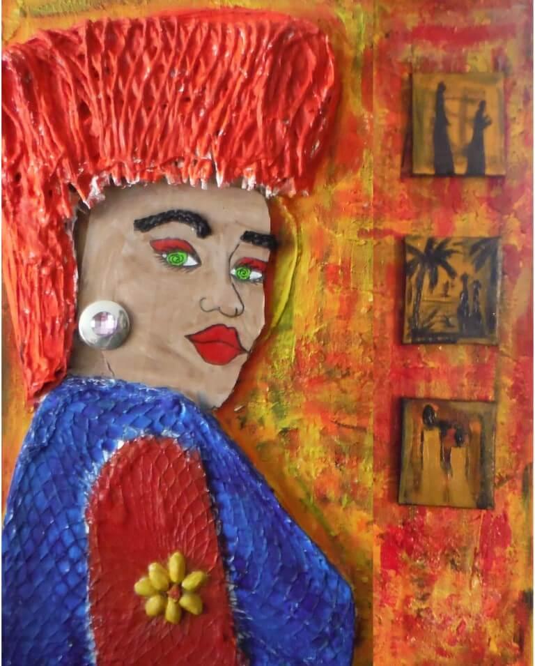 Gevoelsdame (gemaakt in Workum o.l.v. docente Relinde)5 x 40 x 50 cmAcrylverf en diverse afval materialen