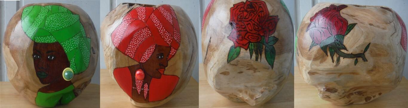 """Lage houten vaas """"Twee Dames""""25 x 25 cmOlie verf en gemengde techniek"""