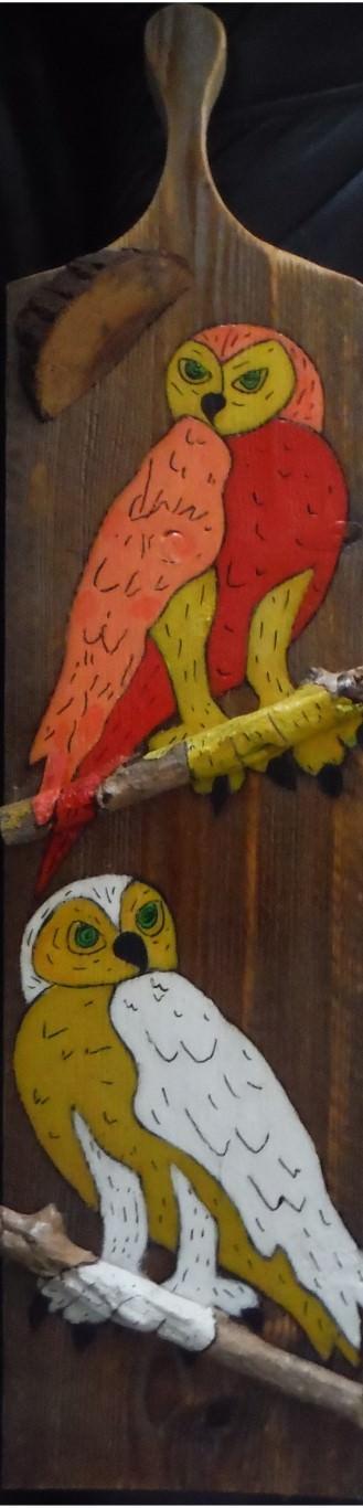 """Presenteer plank """"Tweeling Uil""""20 x 81 cmgemengde techniek op hout"""