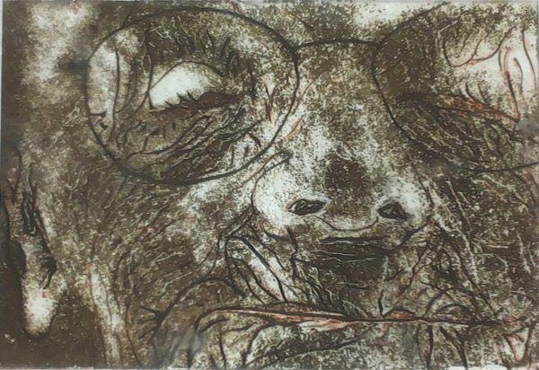 Brandschilderwerkje van een heel oud rimpelig vrouwtje