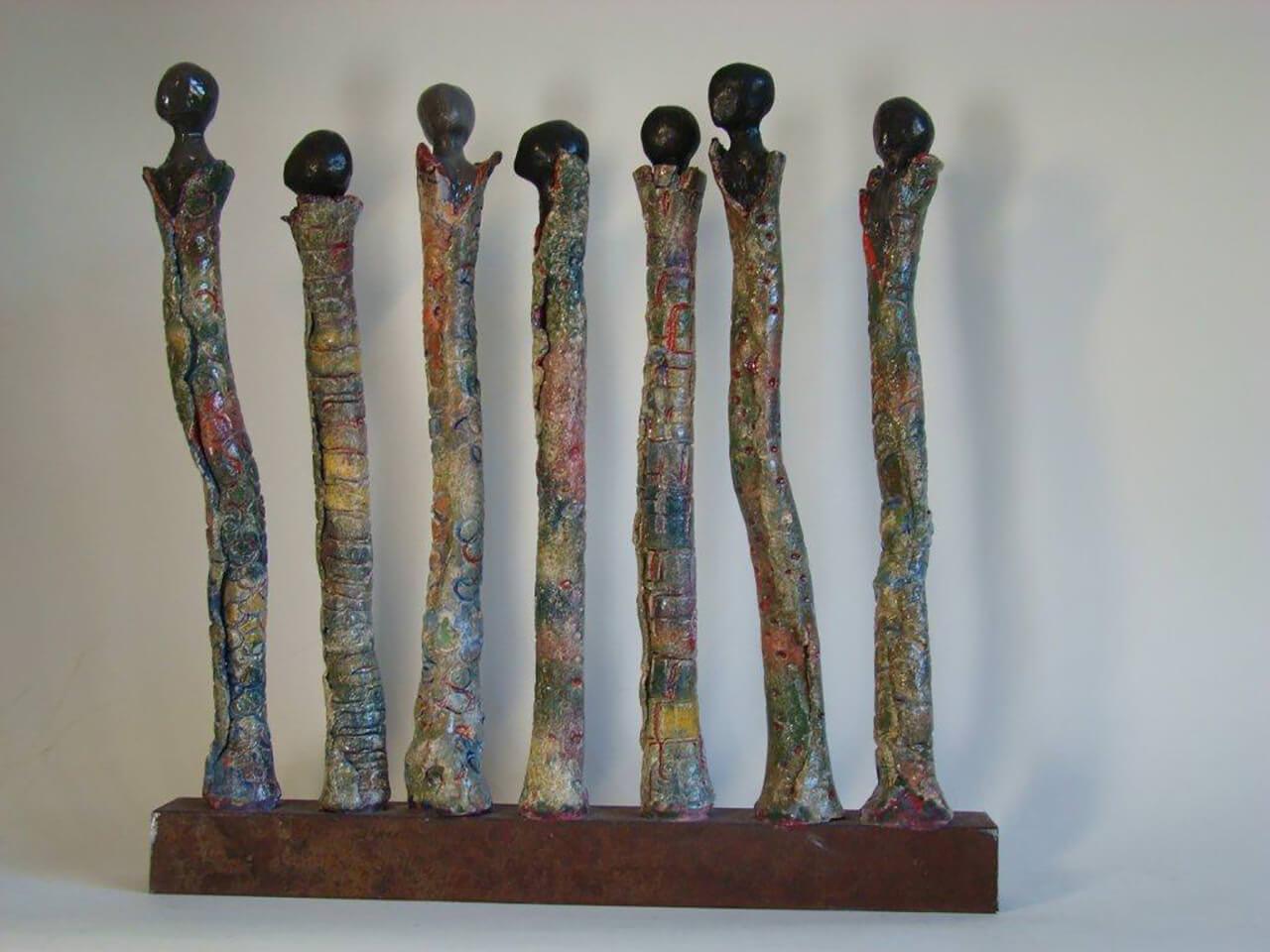 Massaï op staal50 x 50 x 6Keramiek - grove chamotte met pigment