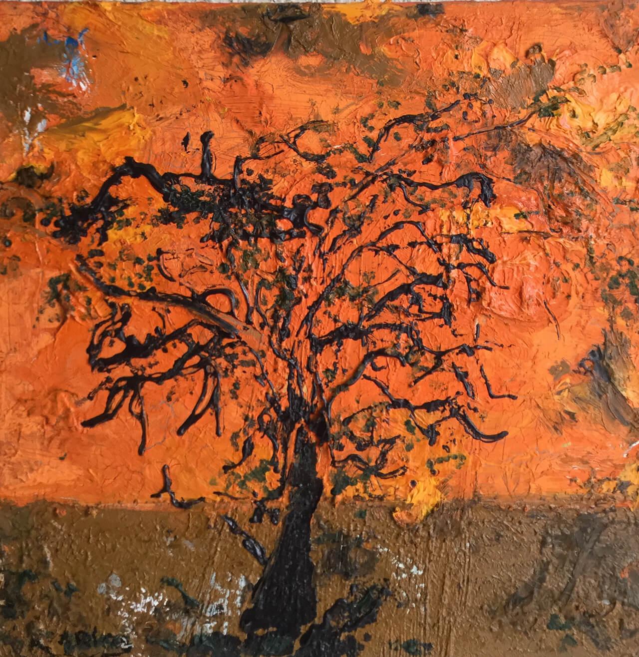 """Onderdeel van het tweeluik """"Bomen""""30 x 30Olieverf op doek2007"""