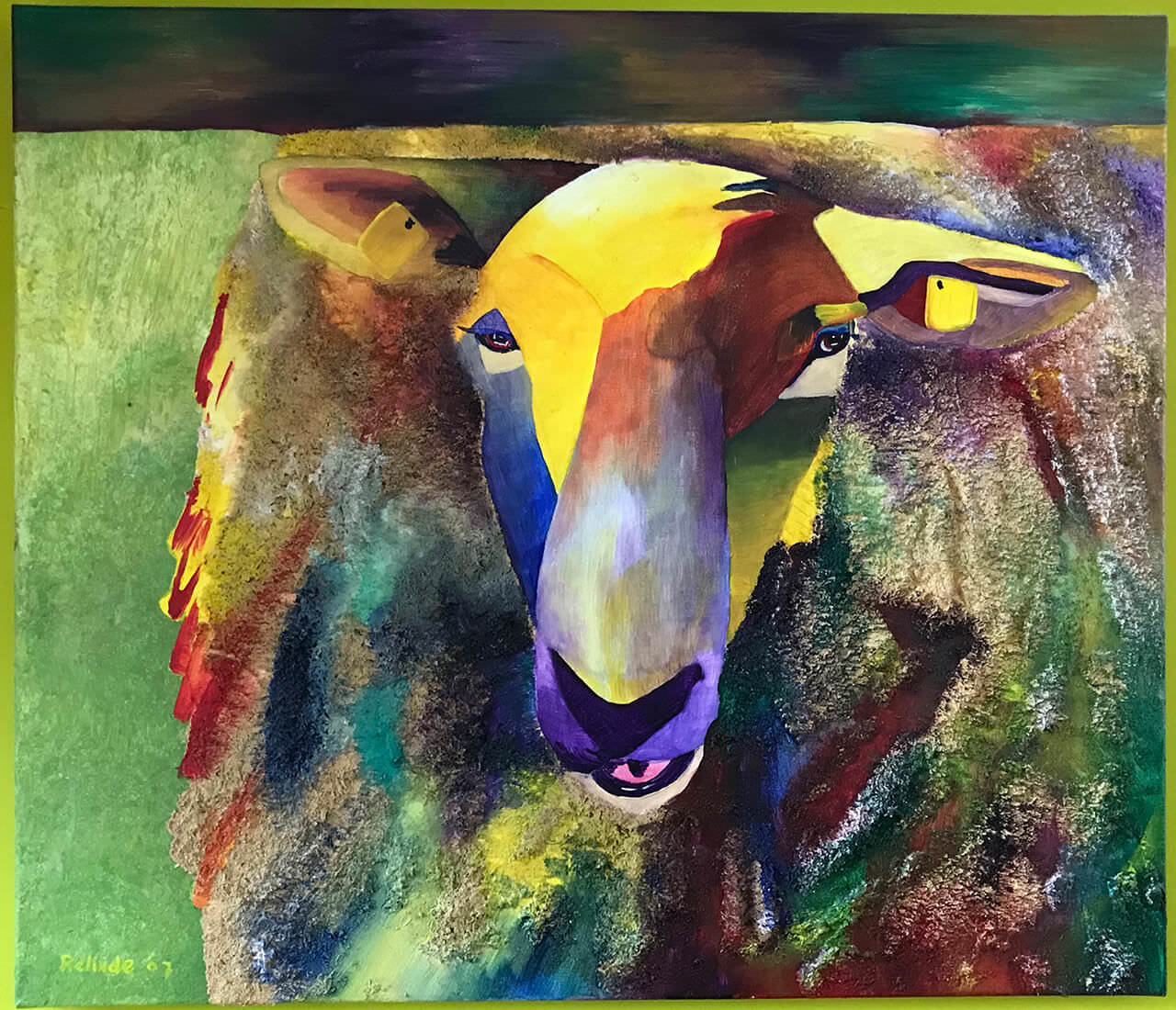 Schaap60 x 70Acryl met mixed mediaReliëf schilderijOnderdeel van een tweeluik met het schilderij Zwaan